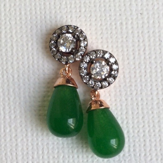Edwardian vintage antique inspired Earring  green drop sterling gold