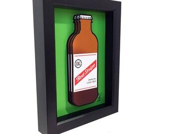 Red Stripe Beer Jamaican Art Jamaica 3D Art Liquor Bottle Print 3D Pop Art Artwork Bar Art Kitchen Decor