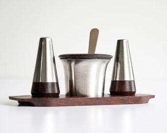 Vintage Lundtofte Denmark Danish Modern Rosewood Condiment Set