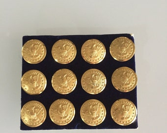 Mississippi State Seal Brass Buttons/ Brass Buttons/Waterbury Button Company/ Eagle Buttons/ Military Brass Button/