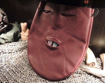 Large  Burgundy Leather Bag with Metallic  Eye---New Style---