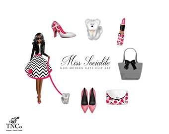 Girl Clipart - Modern Clipart - Commercial use Clipart - Fashion Illustration - Handbag clipart - floral print shoes - shoes clip art - MK