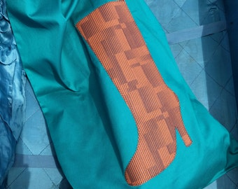 Travel Boot Bag Set, Teal Twill with Brown Applique