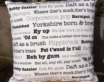 Handmade Cushion Cover Yorkshire Sayings