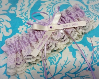 lilac Wedding Garter , beautiful personalized purple violetta lilac satin and white or ivory Lace with heart personalized, name garter