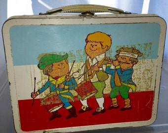 1970's American 4th of july parade band ohio art metal lunch box lunchbox