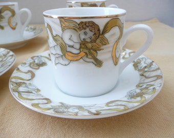 "Set of FOUR American Atelier ""Heavenly Hosts"" Porcelian Demi-Tasse Angel Cup and Saucer, New in Box"