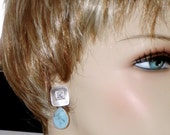 SHOP CLOSING SALE: Ashira Matte Silver Cz Stud Earring with Light Turquoise Stone Gemstone - Perfect for Jeans