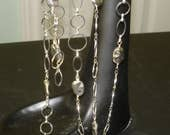 BLACK FRIDAY SALE:  Ashira Long Handmade Chain Linked with Silver Beans