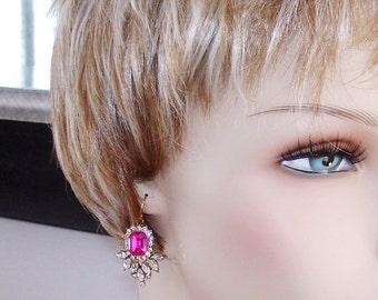 SHOP CLOSING SALE: Ashira Statement Drop Dangle Chandelier Earrings in Clear, Hot Pink Rhinestones