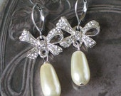 Rhinestone Bow Pearl Earrings, Bow Earrings , 18th century style, Anna Karenina Jewelry