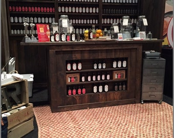 Trade Show Rustic custom portable wall with side walls and shelf's - display for shop or booth