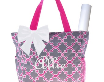 Personalized Pink, Grey & White Quadrafoil Pattern Diaper Bag with Changing Pad