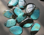 10pcs -Large Black Teal agate Pendant 40x60mm- SIMILAR AS PICTURED