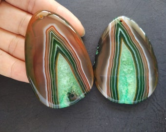 Giant Large Brown Green Stripe Druzy Agate Pendant  -As Pictured -#160926002