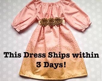 Girls Fall Dress - Girls Gold Dress - Dresses for Girls - Peach Blush and Gold Dress with 3/4 Sleeves - Baby Girl Dress - Girls Dresses