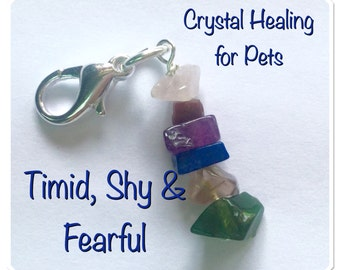 Crystal Healing Collar Tag for Timid Shy & Fearful Pets. #dogs #cats #horses