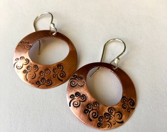 Stamped Copper Hoop Earrings
