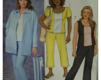 "Plus Size, Capris Pants Pattern, Scoop Neck Top, Long Zippered Jacket, Butterick No. 4408 UNCUT Size 18W 20W 22W 24W (Bust 36-42"")"