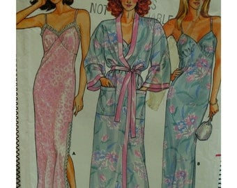 "Nightgown and Robe Pattern, Slip Style Nightie, Shoestring Straps, Banded Robe, Kimono Sleeves, Butterick No.3713 Size 6 (Bust 30.5""78cm)"