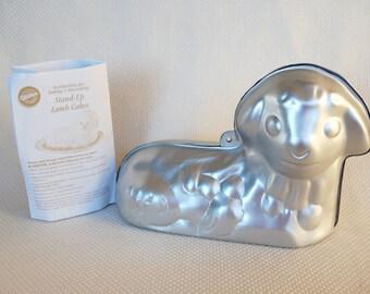 Vintage Wilton Stand Up Lamb Cake Pan With Instructions 3D Lamb Pan circa 1995 Easter Holiday Little Lamb Cake Pan