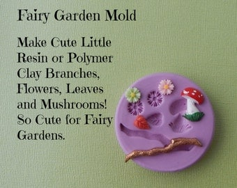 Fairy Garden Silicone Mold DIY Cabochon Branch Flower Mushroom Leaf