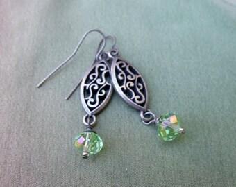 Crystal Earrings - Filigree Earrings - Dangle Earrings