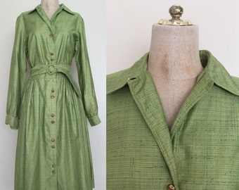 20% OFF 1950's Green Shirtwaist Vintage Dress Sz Small Medium Tall Dress by Maeberry Vintage