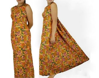 Asian Print Maxi Dress, Indorables of California, Aloha Party Dress Vintage 1970s, Size Small