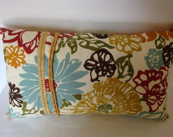 Decorative pillow, multi colored pillow, embellished pillow, home decor, trim embelishment
