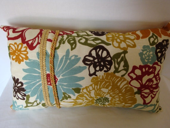 Decorative Pillows With Embellishments : Decorative pillow multi colored pillow embellished pillow