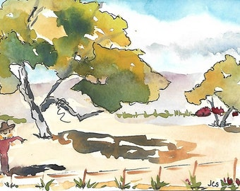 Watercolor Landscape Tree Painting Watercolor & Ink Blue Sky Clouds Fall Colors Scarecrow SFA