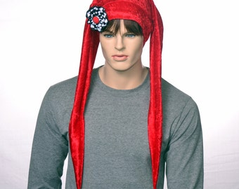 Red Jester Hat Extra Long with Ribbon Cockade Made of Panne Velvet Long Points with Gold Bells Two Point Harlequin Hat