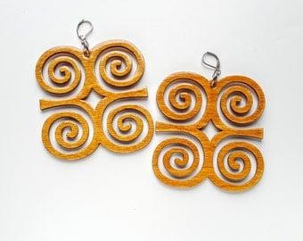 SALE//Dwennemen Strength Humility Inspirational Adinkra wood earrings