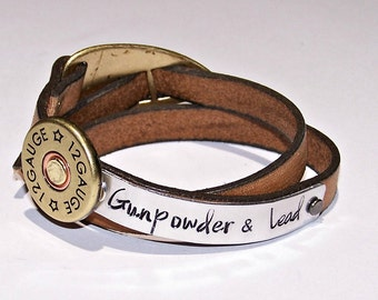 Gunpowder & Lead Distressed Tan Wrap Leather Bracelet or Personalize - Your Choice of Words - Hand Stamped - Metal Stamped - Country Western