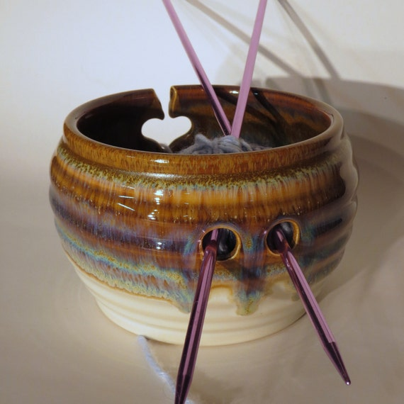 Knitting Wheel Projects : Yarn bowl for knitting in brown wheel thrown pottery from