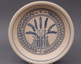 Stoneware  Pie Plate -Blue Wheat Traditional Pattern