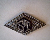 antique 1920s  INITIAL PENDANT Sterling with Marcasites FREE Domestic Shipping
