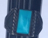 Vintage Silver and Turquoise Ring Rectangular Stone