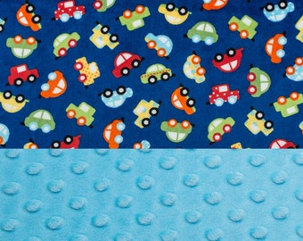 Personalized CARS MINKY Baby Blanket or Lovey, Baby Boy Cars, Custom Blanket, Cars Nursery, Double Minky, Automobile Nursery, Transportation