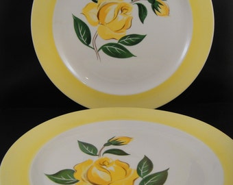Prim Rose China National Brotherhood Operative Potters Yellow Rose Design Dinner Plates (2)