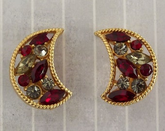 """Vintage Rhinestone Crescent Earrings Clip On 1"""", Red Gray Crescent Moon Earrings, Celestial Jewelry"""