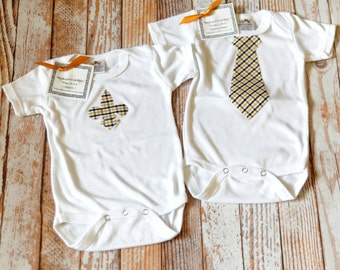 Black and Gold Baby Fleur de Lis OR Necktie One Piece Bodysuit Creeper