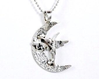 Sterling Crescent Moon Jewelry, Sterling Moon Jewelry, Sterling Angel Necklace, Robin Wade Jewelry, Angel Zoe Dances On Moon, Pendant, 2113