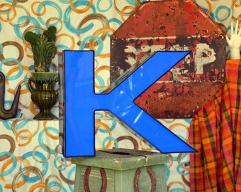 Vintage Marquee Sign Letter Capital 'K': Very Large Blue Wall Hanging Initial -- Industrial Neon Channel Advertising Salvage