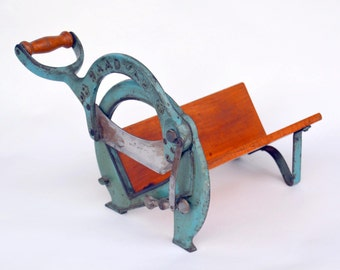 Vintage Teal Cast Iron Danish Hand Operated Slicer: Industrial RAADVAD Deli Kitchen Countertop Guillotine -- Bread, Meats, Cheese & Fingers!