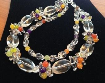 Chunky clear quartz cluster necklace, statement, handmade, multi strand, purple amethyst, orange carnelian, olive jade, handmade