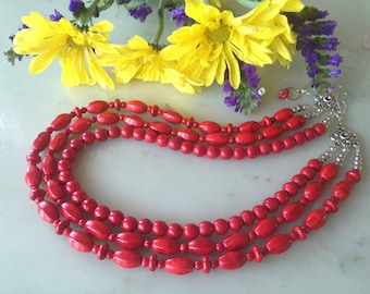 Red necklace, layered, multi strand, chunky, statement, earrings set, beaded, handmade, cascade, multistrand, beaded