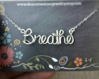 Breathe Necklace, Custom Word Necklace, Personalized Name Necklace, Yoga necklace, Yoga Gifts, Wire Wrap Word, Jewelry Gifts under 20