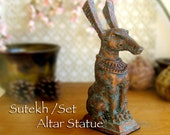 Set / Sutekh - Kemetic Altar Statue - Set Animal, Ancient Egyptian God of the Desert, Storms & Chaos - Handmade with Copper Patina Finish
